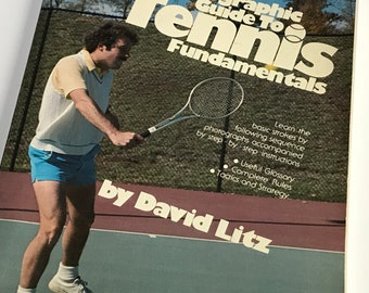 Vintage 70s Tennis Book Retro Photographic Guide to Fundamentals Picture Instruction by David Litz How To Basics Paperback