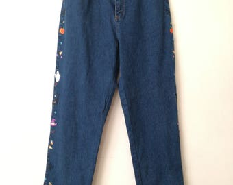 Mom jeans 90s denim jeans embroidery