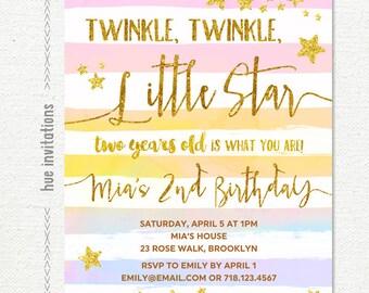 twinkle twinkle little star 2nd birthday invitation girl, rainbow watercolor gold glitter stars white stripes, custom printable digital file