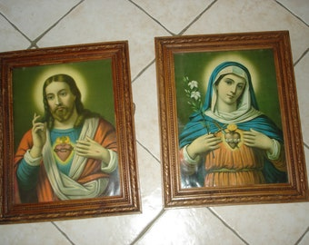 Two great old frames with Jesus and Mary of 41 cm / 51 cm