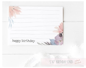 Printable Card Birthday Happy Birthday Card Handmade Card Floral Birthday Card Birthday Card For Him Birthday Card For Her Instant Download