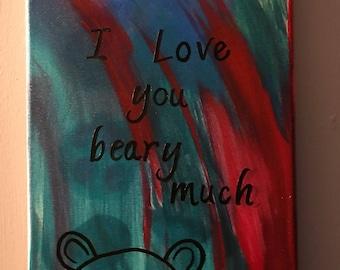 Bear Love: Abstract Acrylic Paint on 9x11 canvas