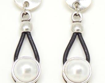 Pearl, Pearl Earrings, Boho Earrings, Boho, Gift for Girlfriend, Gift for Wife, Leather Earrings, Gift for Women, Gift for Mom, Boho Jewelry