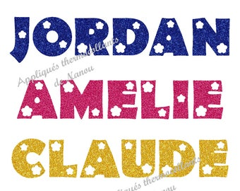 Applied fusible custom name glitter writing flex flowers