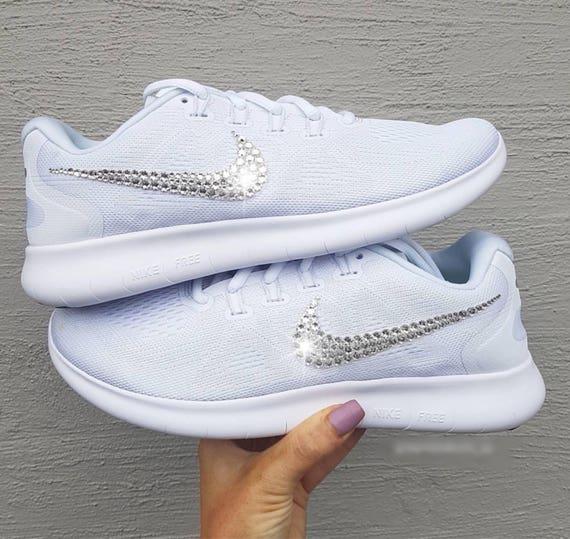 Bling Nikes Swarovski Crystal Nike Free Rn 2017 White Bling 3eddab483