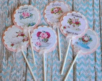 Shabby Chic Tea Party Cupcake Toppers:  Perfect for Tea Parties, Bridal Showers, Baby Showers, Birthdays - set of 12