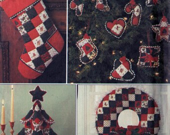 Vintage 1980's Country Christmas Patchwork Wreath Stockings Tree Centerpiece Ornaments Sewing Pattern Simplicity 7025 Shirley Botsford UNCUT