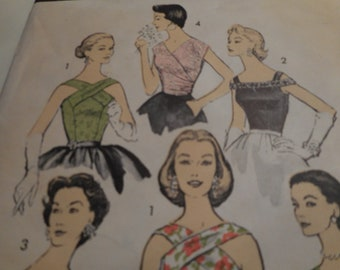 Vintage 1950's Advance 8001 Blouses Sewing Pattern Size 12 Bust 30