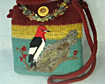 Felted Purse, Felted Handbag, Red Headed Woodpecker, Bird Art, Needle Felt Woodpecker