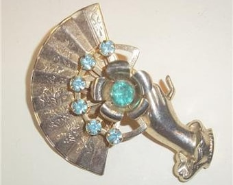 Vintage Woman's Hand Holding Fan Brooch With Rhinestones