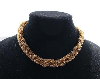 UNN # 62 Vintage Seed Bugle Bead Choker in Amber, Gold, Bronze Braid