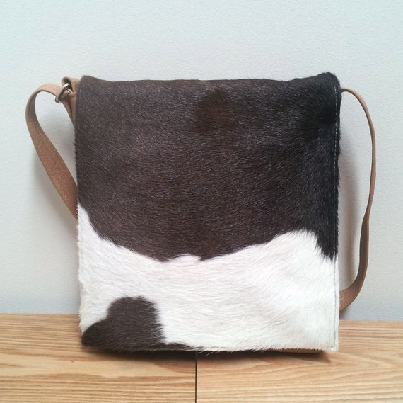 Leather Messenger Bag, cowhide, brown and white New Zealand cowhide, small travel bag, handmade.