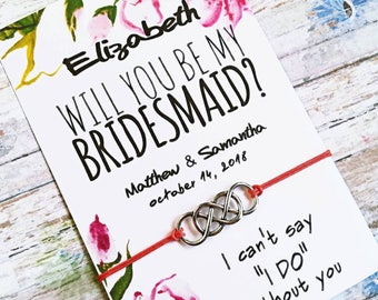 Bridesmaid Proposal, Infinity Bracelet, Will you be my Bridesmaid, Asking Bridesmaid, Bridesmaid Gift, Custom Wedding Favors