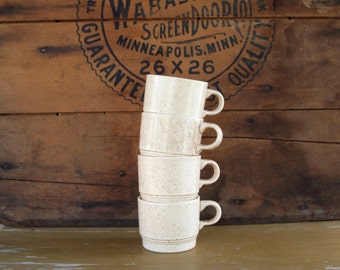 Mid Century Off White Brown Speckled Stacking Coffee Mugs Set of Four