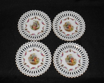 Pierced Reticulated Rim Courting Couple Porcelain Side Plates Germany ~ Set of 4
