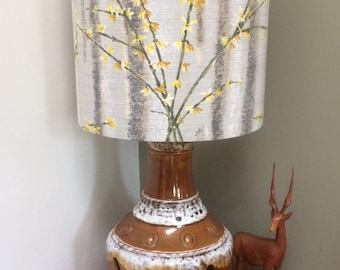 Distinctive  Grey MCM Lampshade with a Floral Jasmine Forcythia  Vintage Barkcloth Fabric