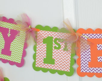 Chevron Happy 1st Birthday Name Banner, Birthday Party, Chevron Theme, Orange, Magenta and Kiwi Green