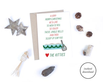 Printable Christmas Cards,  Christmas Card from the Cats, Funny Christmas Digital Downloads, Funny Cat Christmas Cards for Cat Lovers