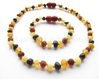 Raw Unpolished Baltic Amber Baby Teething Necklace and Bracelet/Anklet Multicolor Beads