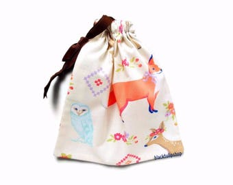 Small Gift Bag Drawstring Pouch Cute Forest Creatures Small Purse Gift Bag Deer Fawn Fox Owl Squirrel Drawstring Bag