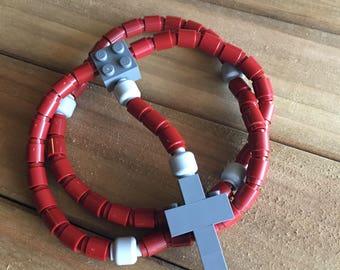 Rosary made of Lego Bricks - Maroon, Light Gray & Dark Gray Catholic Rosary