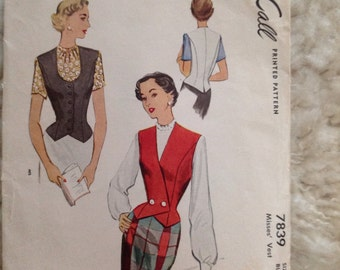Vintage 50's McCall 7839 Vest or Weskit in two styles, size 12, bust 30