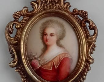 Antique French Miniature Painting on Porcelain Plaque