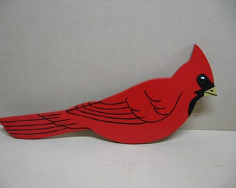 Cardinal yard ornament, handpainted.