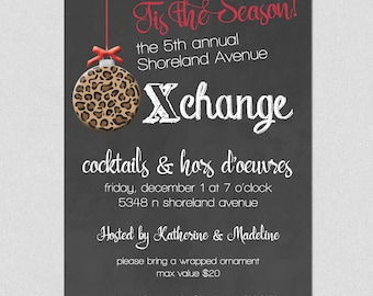 Ornament Exchange Invitation, Christmas Party Invitation, Ladies Holiday Cocktail Party, Ornament Holiday Invite, leopard, chalkboard