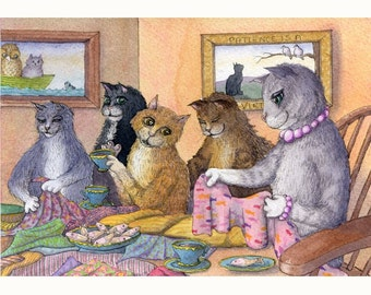 Cat sewing bee 10x8 inches print