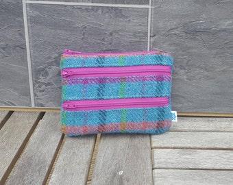 Harris tweed 3 zipper purse, coin purse, zipped coin purse, zipped card holder, coin pouch, 3 zip purse, 3 zipper coin purse, change purse