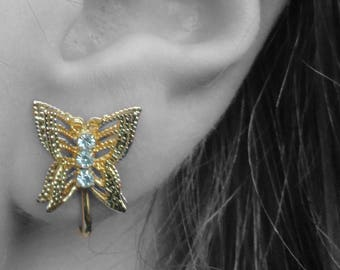 Vintage Butterfly Gold Tone Clip-On Earrings With Silver Tone Rhinestones