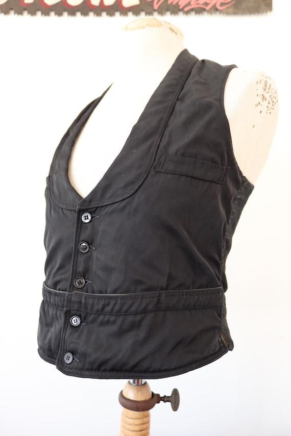 "Vintage 1930s 30s french waiters black silk cotton waistcoat vest buckle v notch back 35"" chest"