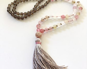 Mala For Wisdom, Strawberry Quartz Mala, Smokey Quartz Mala, Hematite Mala, Mala Beads 108, Buddhist Prayer Beads, Mala Necklace, Mala Beads