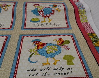 The Little Red Hen fabric from Henry Glass & Co. By the panel