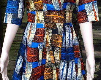 African Wax Fabric tailored multicoloured, mid length dress with back zip detail size UK 10