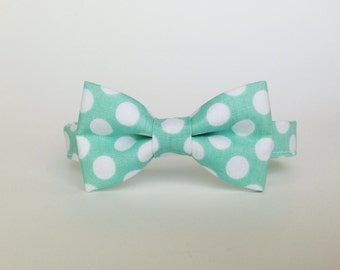 polka dot mint Bow tie Mint tie-  Boys Bow Ties  - green Baby bow tie - toddler bow ties