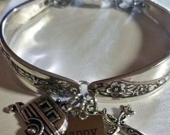 Camping jewelry, antique spoons, silverware bracelet, happy camper, upcycled flatware, Queen Mary 1953, free shipping, gift box