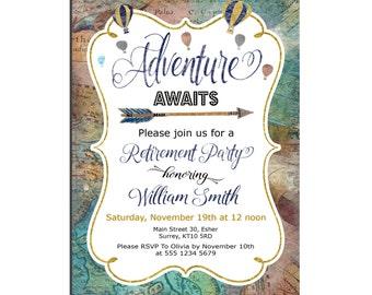 World map Retirement Invitation for Men Blue gold Navy Retirement Invitation Adventure awaits Hot air balloon Travel Retirement Invitation