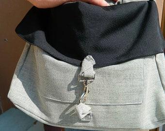 Man's purse, hemp bag, grey shoulder strap, carabiner, outside pocket, black and grey, lazip, man bag, book bag, school folder