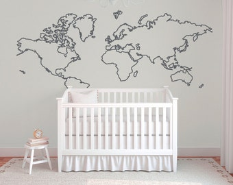 World map wall decal, World map outline wall decal, Nursery wall decor, Adventure nursery decal, Aviation decor, Map of the world decal B388