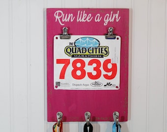 Running Medal Holder - Run Like A Girl - Bib Holder