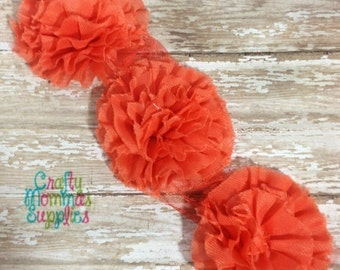 """ON SALE Set of 3 - Coral Shabby Pleated Flowers 3.5"""" - Supplies, Baby Headbands, Infant Headbands, Fashion project, Baby and Toddler"""
