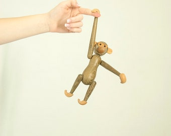Vintage wooden monkey, hanging articulated figurine animal primate ape chimp toy, Kay Bojesen style 1950s Danish mid-century decor