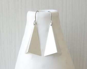 Modern Silver Dangle Earrings, Nickel Free Titanium Earwires, Contemporary Jewelry, Triangle Drops, Geometric, Matte Satin Finish