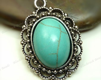 Turquoise Blue Magnesite Oval Gemstone Pendant - Antique Silver Tone Scalloped Edges 22x32mm - BK4