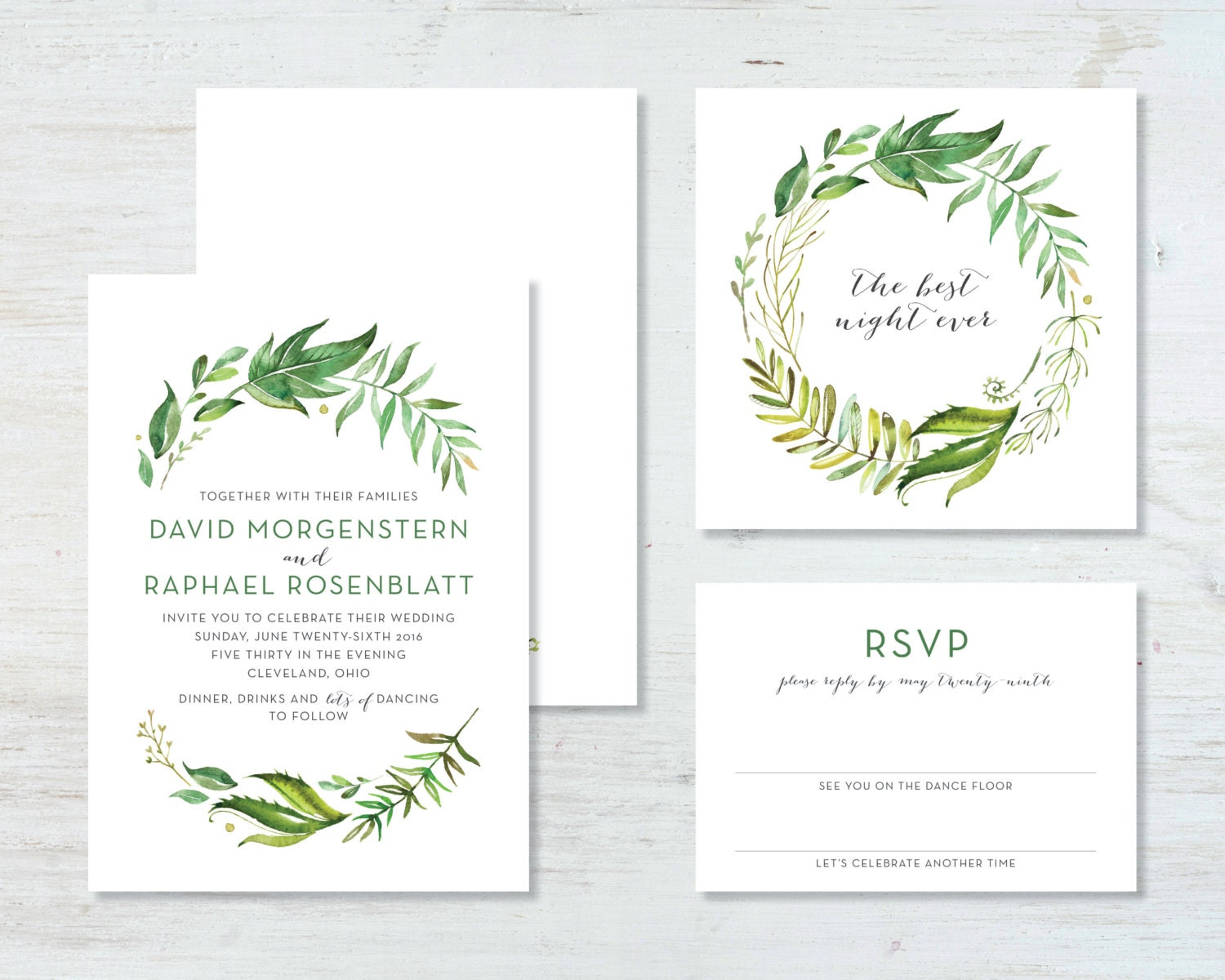 Greenery wedding invitation suite deposit zoom monicamarmolfo Image collections