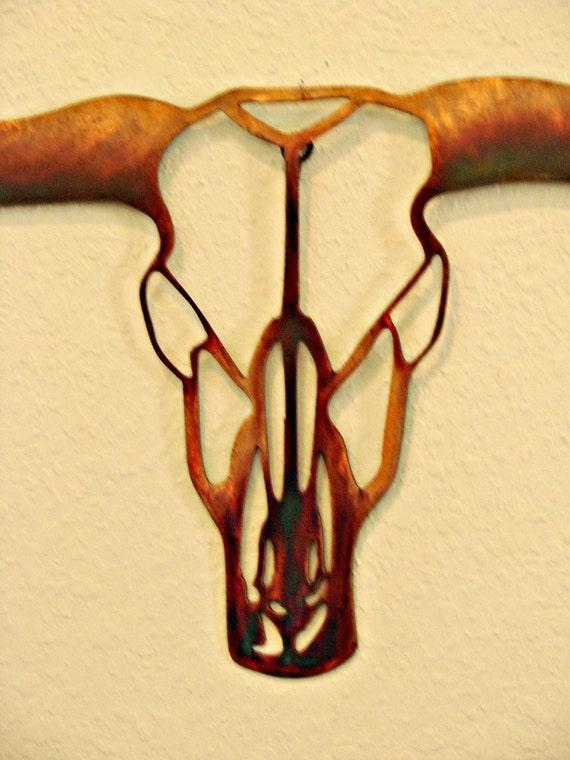 Texas Longhorn Skull 16 Gauge Copper Torch Patina Metal Wall