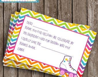 Printable Thank You Card, Roller Skating Party, Thank You Note, Roller Skating party decor, #SP1