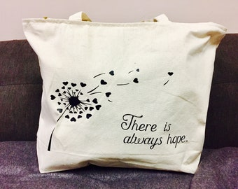 dandelion, heart, canvas bag, zipper, there's always hope, canvas tote, tote bag, beach bag, zippered closure